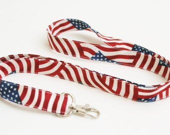 USA Flag Lanyard with Swivel Clasp - Red, White, and Blue Lanyard - 4th of July - Teacher Lanyard - 3/4 Inch Wide Key Strap - Veteran Gift