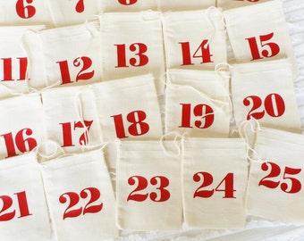 Red Advent Calendar Set - 25 Small Muslin Fabric Bags -  3x4 inch - Advent Calendar - Christmas Countdown - Days Until Christmas - Reusable