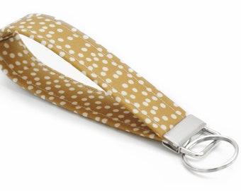 Key Fob - Dark Mustard with Cream Dots - 5 Inch Key Ring - Girly Key Chain - Cute Wristlet Loop - Short Lanyard Strap - Women - Boho