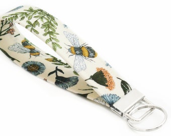 Fabric Key Fob - Floral and Bees on Cream - 5 Inch Key Ring - Key Chain - Cute Wristlet Loop - Short Lanyard Strap - Girly Keychain