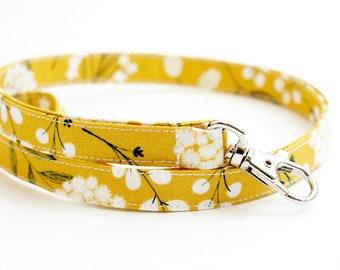 Dark Yellow Floral Fabric Lanyard with Swivel Clasp - Long Key Lanyard - ID Strap - 15.5-19.5 Inch - Teacher Lanyard - Cute Boho Lanyard