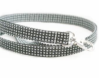 Skinny Fabric Lanyard - Classic White Cross Stitch on Charcoal - 1/2 Inch Wide - 15.5-19.5 Inch Long Cute Key Strap - Teacher - Mens