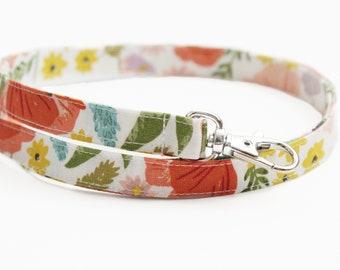Fabric Skinny Lanyard - Cottage Flower Garden - Long Key Lanyard - ID Strap - 15.5-19.5 Inch - Teacher - Cute Thin Lanyard - 1/2 Inch Floral