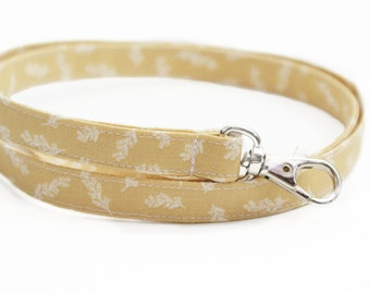 NEW! Skinny Fabric Lanyard - Soft Yellow Floral Stems - Cute Long Key ID Badge Strap for Teachers - 15.5-19.5 Inch Drop - Neck Lanyard