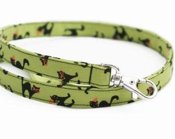 NEW! Black Cats on Green - Halloween Lanyard - Cute Skinny ID Badge Strap for Teachers - 15.5-19.5 Inch Drop - Fabric Lanyard for Keys