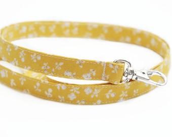 NEW! Skinny Fabric Lanyard - Fall Yellow Floral - Cute Long Key ID Badge Strap for Teachers - 15.5-19.5 Inch Drop - Neck Lanyard