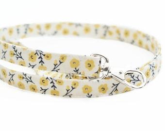 NEW! Lanyard for Keys - Yellow Flowers on Cream - Skinny Fabric ID Badge Lanyard - Cute Lanyard for Teachers - Various Lengths
