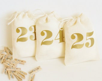 Advent Calendar Set with Mini Clothespins and Twine - 3x4 Inch - Advent Kit - Christmas Countdown - Days Until Christmas -  Reusable Bags