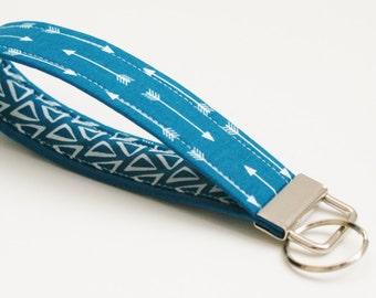 Fabric Key Fob - White Arrows on Dark Teal Blue - Cute Wristlet - 5 Inch Key Chain - Tribal Key Ring - Keychain - Short Wrist Lanyard Strap