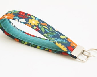 Key Fob - Blue, Yellow, and Red Floral - 5 Inch - Fabric Keychain - Cute Key Fob - Key Ring Wristlet - Multicolor Flowers - Loop Key Fob