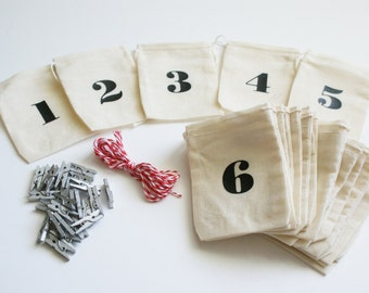 Advent Calendar - Small Muslin Bags and Mini Clothespins - 3x4 inch - Christmas Countdown - Days Until Christmas -  Reusable Fabric Bags