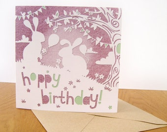 Hoppy Birthday, papercut style square greeting card.