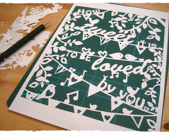 How Tweet it is... wedding/anniversary papercutting Template download (PDF, Jpeg)