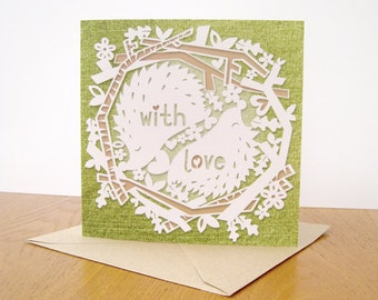 With love, papercut style square birthday/Valentines day card.