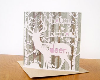 Happy Birthday my Deer, papercut style square greeting card.