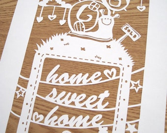 Home Sweet Home Papercut Template download (PDF, Jpeg)