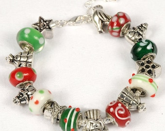 Christmas Bracelet, Holiday Jewelry, Christmas Spirit. Whimsical Christmas Bracelet