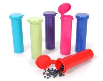 Plastic Tube Containers w Hinged Lids - 4in. X 1in. Each - Pack of 6 Assorted Colors (dar2025078)
