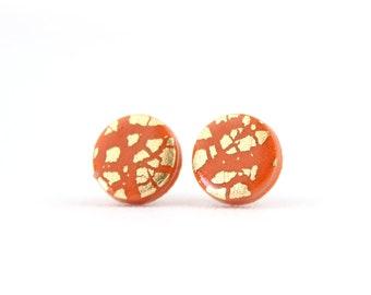 Burnt Orange Braided Studs