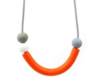 Orange statement necklace, orange necklace, Orange grey curve necklace, statement necklace, geometric necklace, wearable art, curve necklace