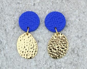 Cobalt Blue and Gold Statement Earrings, Cobalt Dangly Earrings, Hammered Gold Coin Earrings, Cobalt Drop Earrings, Blue Geometric Earrings