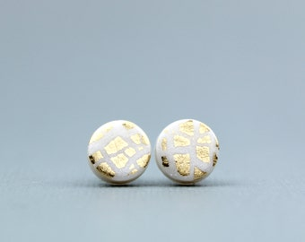 Gold and Pearl studs, gold leaf studs, white and gold earrings, pearl and gold leaf studs, gold leaf studs, gold studs, bridesmaid earrings