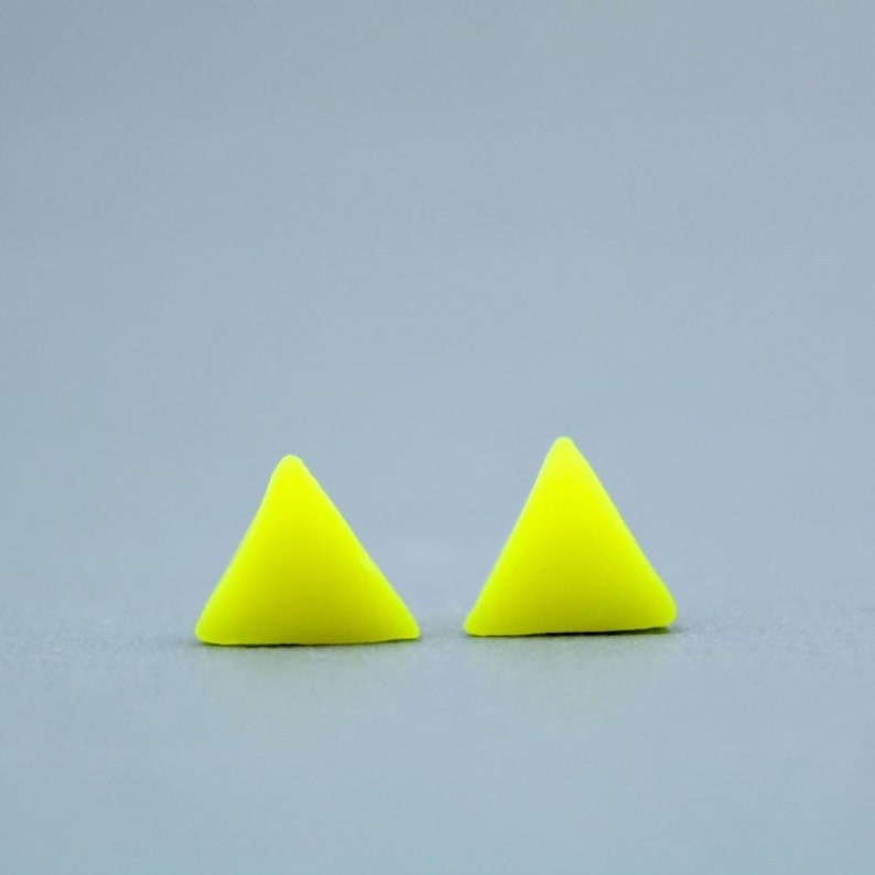 6f3d13d28ee4a Neon yellow triangle studs, Neon yellow earrings, Neon Yellow studs,  Geometric yellow earrings, Triangle studs, fluorescent yellow earrings