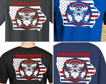 ae2b231c Iowa firefighter volunteer firefighter shirts. Support. Youth. Daughter of  a firefighter. Son of a firefighter. Black. Navy