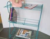 Vintage Mid Century Eames Style Metal Wire Plant Stand Phonograph Record Player Table Magazine Rack Aqua Turquoise