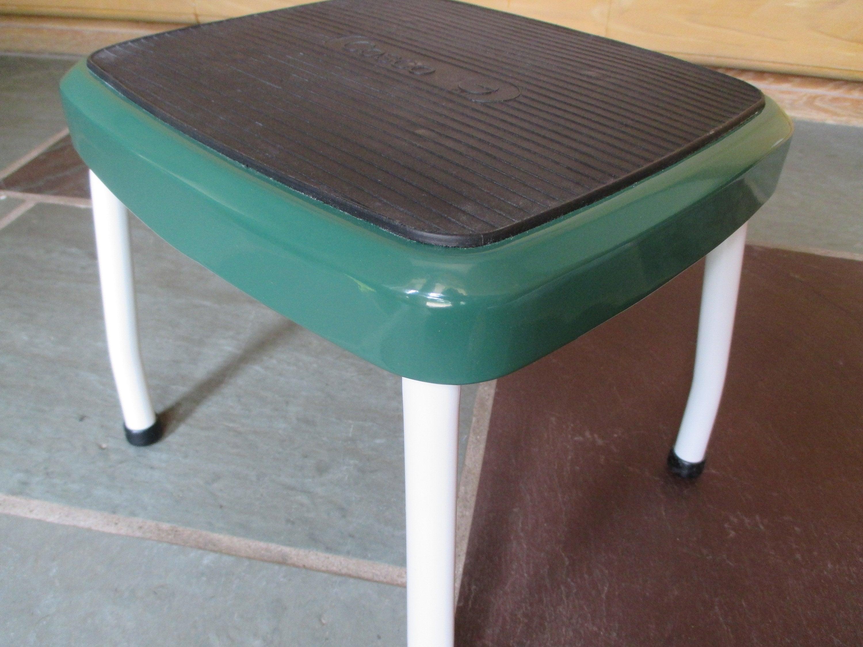 Vintage COSCO Restored Steel Step Stool Green White Bathroom | Etsy