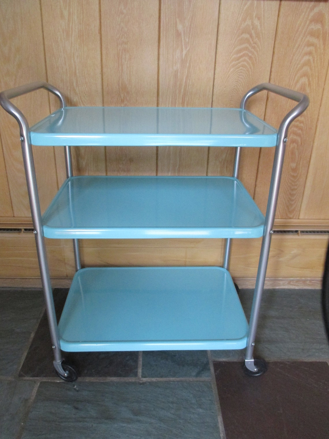 Vintage COSCO Restored Three Tier Tea Wheeled Bar Serving Cart Aqua Turquoise Silver