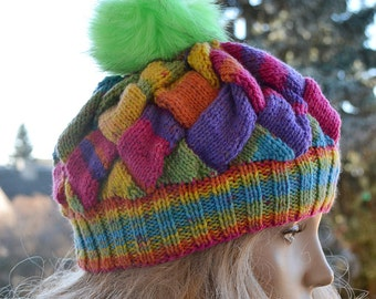 53144ad5115 Multicolor Knitted cap in fur pompom cap hat lovely warm autumn accessories  women clothing Knit Hat Womens