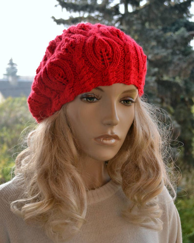 fcbce7ad2f6 Red beret Women s beret Winter beret Women Hat Slouchy