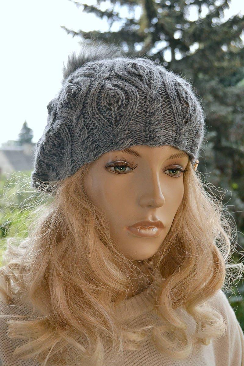 women knitting beret gray knit hat womens cream hat etsy