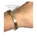 Solid 14K Gold CUFF - 5mm x 1.5mm -  Flat rectangular shape - Elegant gold cuff bracelet