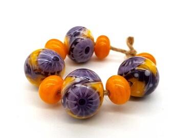 topaz  3d flowers Lampwork glass beads handmade Beads supplies jewelry Beads for jewelry making Set beads  SRA Murano Beads green beige