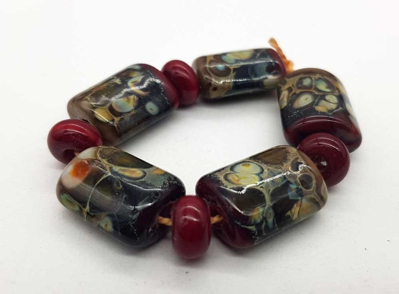 Lampwork beads handmade Beads supplies jewelry Beads for jewelry making Murano beads Set beads Beads SRA Beads red brown. white marsh