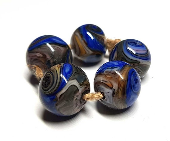 brown multicolor. Lampwork beads handmade Beads supplies jewelry Beads for jewelry making Murano beads Set beads Bead SRA Beads blue