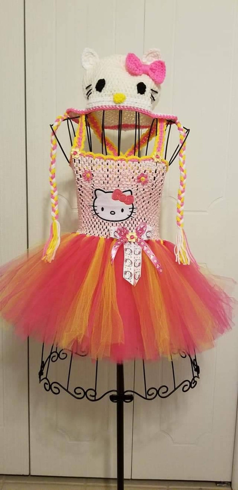 f957ee75b Hello Kitty inspired Tutu Dress with Crochet Kitty Hat one | Etsy