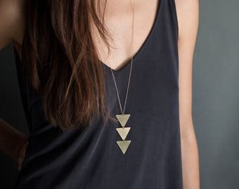 Long Geometric Necklace, Triangles Pendant Necklace // NEFERTITI NECKLACE // Triangle Necklace, Brass or Gold Necklace // Bohemian Fringe