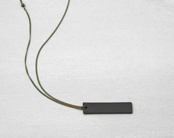 Heavy Duty BLACK BAR Necklace   Mens Necklace Unisex   Thick Black Tag Pendant  Necklace   Bar necklace  Personalized necklace 698e620de0c3