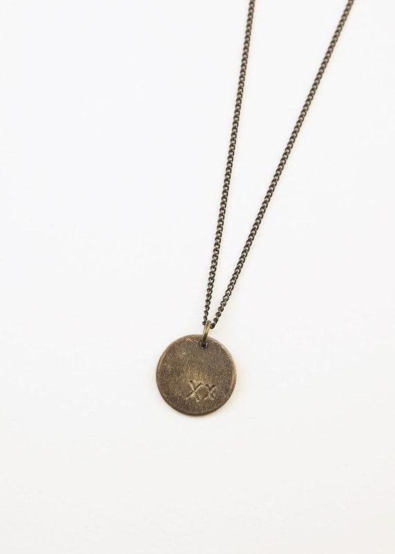 Bronze Disc Dangle Necklace Bronze jewelry Boho