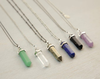 Crystal Stone Necklace, CRYSTAL POINT CHAKRA Crystal Necklace, Pendant Necklace, Crystal Long Necklace