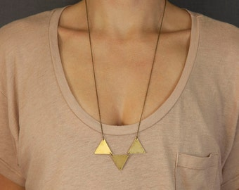 PYRAMIDS Necklace // Simple Pennant Necklace // Geometric Brass Triangle Necklace // Choose your length // Brass Bunting Necklace