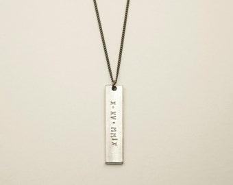 SILVER BAR Necklace, Personalized Pendant Necklace, Mens Necklace, Bohemian Fringe