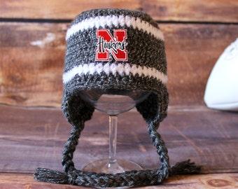 Nebraska Huskers Hat - newborn baby infant toddler child kids Husker hat Cornhusker stocking cap photo prop beanie knit cap grey gray