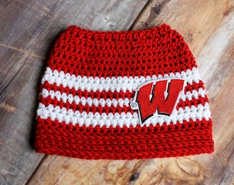 5494e20da14 Wisconsin Badgers Messy Bun Hat - Bucky hat WI Women s Ponytail Hat Running  Cap Runners Hat with hole beanie mom gift - Fits Child to Adult