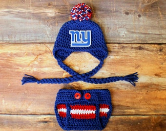14f8c6ac8ec NY Giants Hat   Diaper Cover Outfit - Newborn Baby Toddler Child Infant  Kids New York Giants stocking hat knit photo prop going home outfit