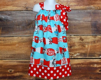2c2aecf7 Dr Seuss Dress - Cat in the Hat Dress newborn baby toddler infant child girls  birthday outfit gift Thing 1 Thing 2 twins read across america