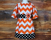 Girls Thanksgiving Peasant Dress Newborn Child Fall outfit baby infant toddler Halloween Texas Longhorns orange black